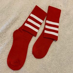 Red stripped knee high socks